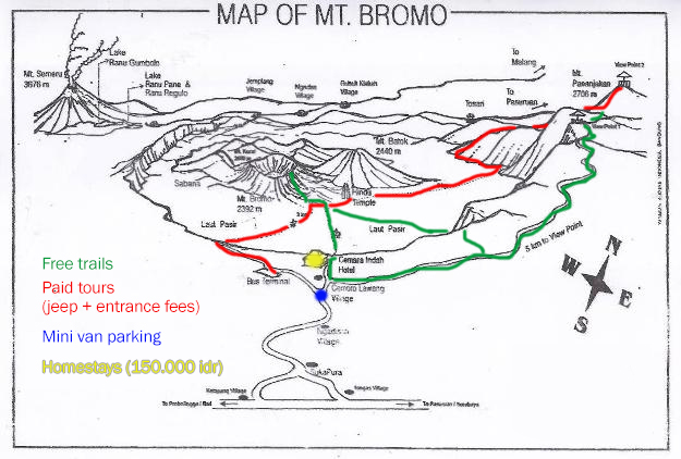 Map van Mount Bromo